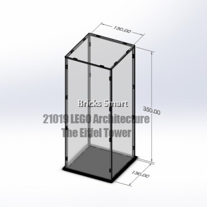 Acrylic Case with Black Base for 21019 LEGO Architecture The Eiffel Tower