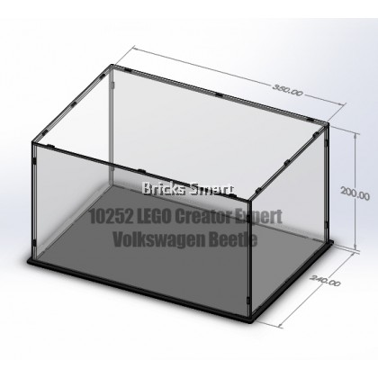 Acrylic Case with Black Base for 10252 LEGO Creator Expert Volkswagen Beetle